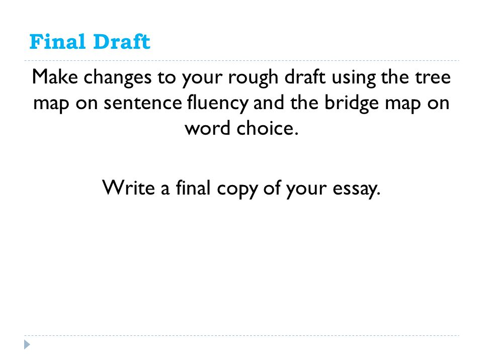 Final Draft Make changes to your rough draft using the tree map on sentence fluency and the bridge map on word choice.