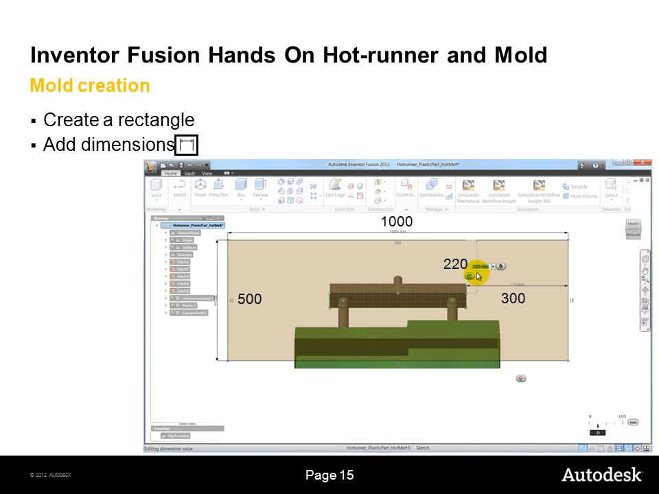 © 2012 Autodesk Page 15 Inventor Fusion Hands On Hot-runner and Mold  Create a rectangle  Add dimensions Mold creation 1000 500 220 300