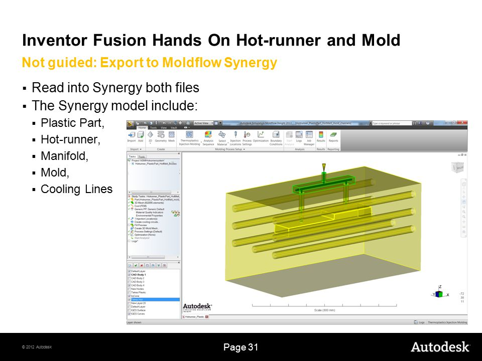 © 2012 Autodesk Page 31 Inventor Fusion Hands On Hot-runner and Mold  Read into Synergy both files  The Synergy model include:  Plastic Part,  Hot-runner,  Manifold,  Mold,  Cooling Lines Not guided: Export to Moldflow Synergy
