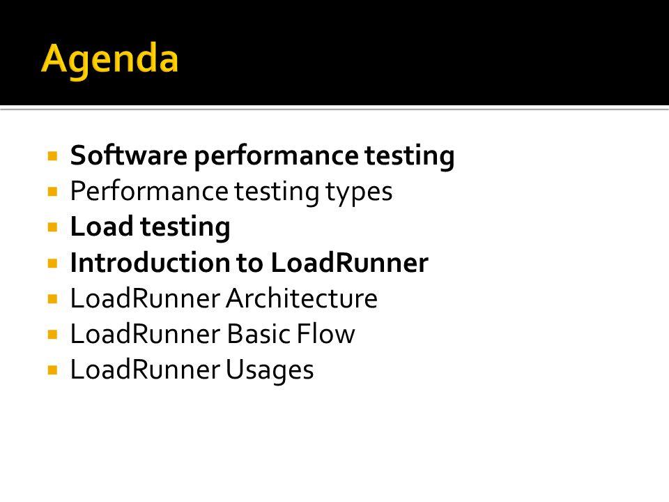  Software performance testing  Performance testing types  Load testing  Introduction to LoadRunner  LoadRunner Architecture  LoadRunner Basic Fl