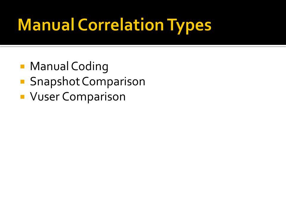  Manual Coding  Snapshot Comparison  Vuser Comparison