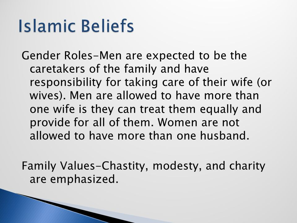 Gender Roles-Men are expected to be the caretakers of the family and have responsibility for taking care of their wife (or wives). Men are allowed to
