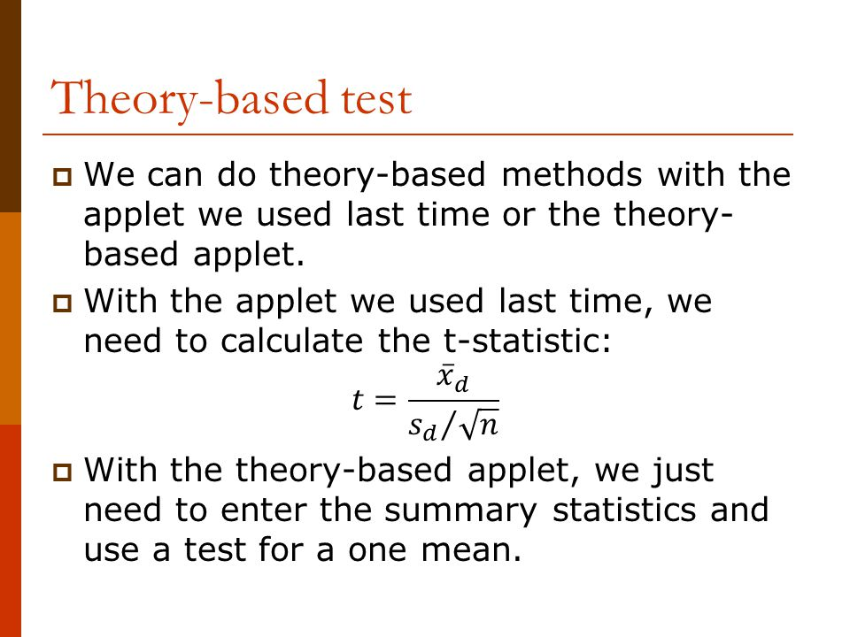Theory-based test