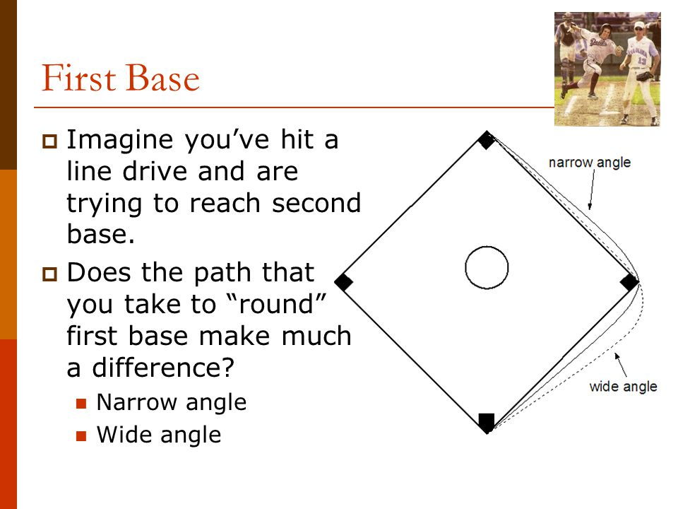 "First Base  Imagine you've hit a line drive and are trying to reach second base.  Does the path that you take to ""round"" first base make much a diff"