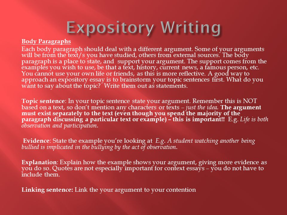 Body Paragraphs Each body paragraph should deal with a different argument.