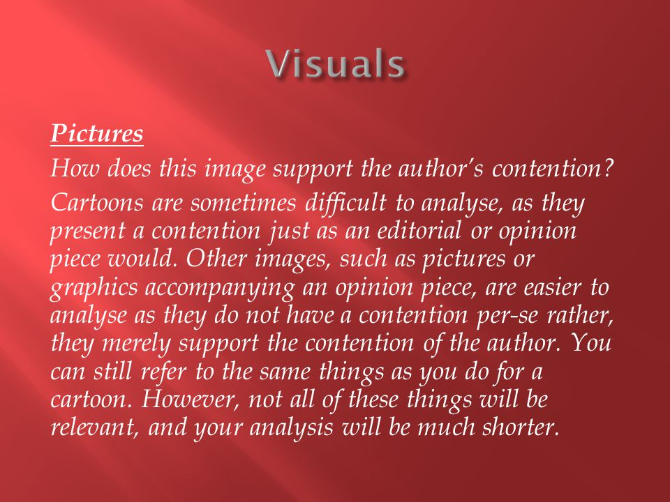 Pictures How does this image support the author's contention.