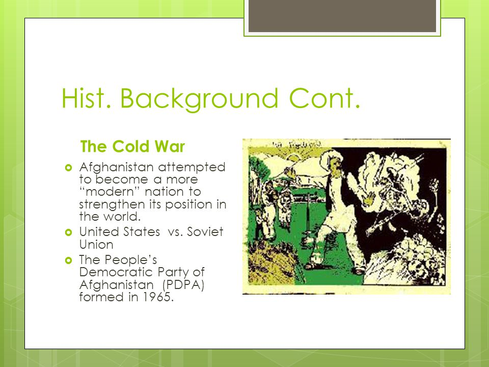 Hist. Background Cont.