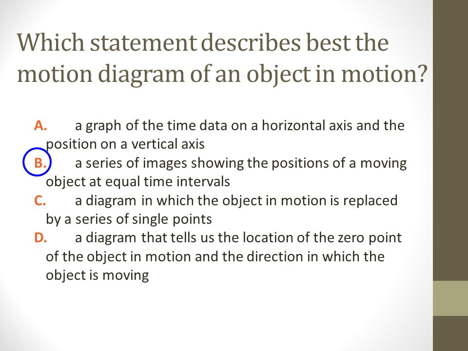 Which statement describes best the motion diagram of an object in motion? A.a graph of the time data on a horizontal axis and the position on a vertic