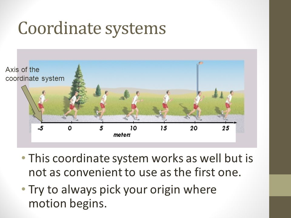Coordinate systems This coordinate system works as well but is not as convenient to use as the first one. Try to always pick your origin where motion