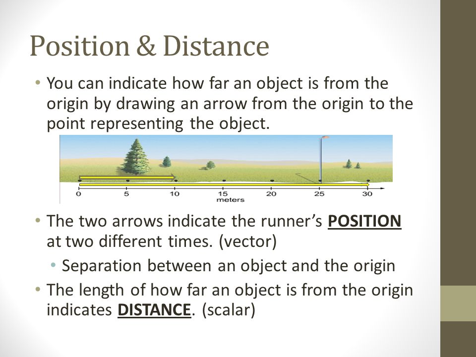 Position & Distance You can indicate how far an object is from the origin by drawing an arrow from the origin to the point representing the object. Th
