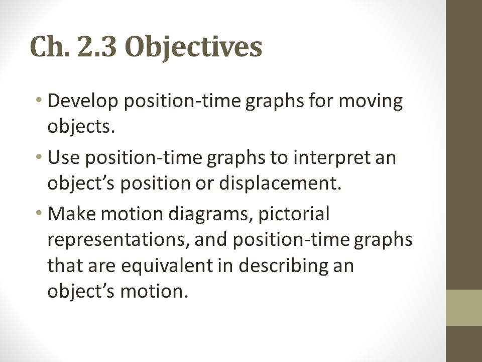 Ch. 2.3 Objectives Develop position-time graphs for moving objects.