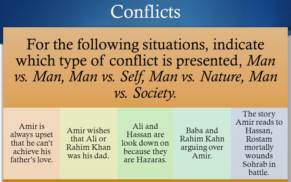 Conflicts For the following situations, indicate which type of conflict is presented, Man vs.