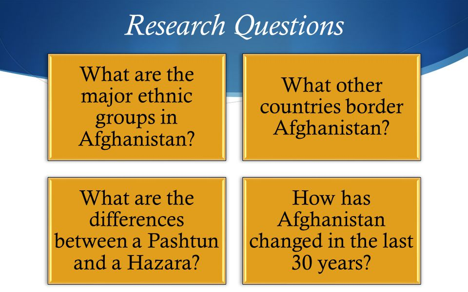 Research Questions What are the major ethnic groups in Afghanistan.