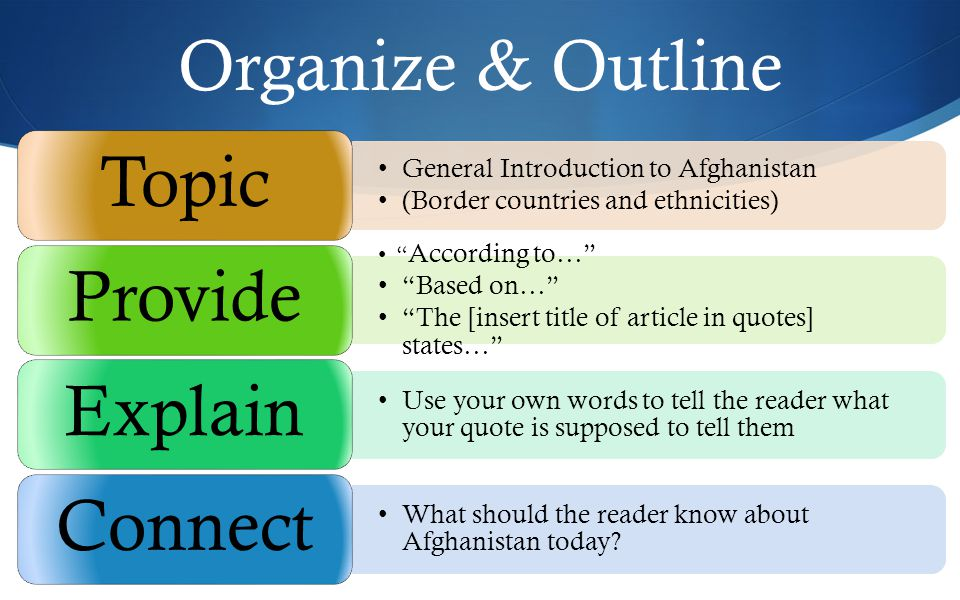 Organize & Outline General Introduction to Afghanistan (Border countries and ethnicities) Topic According to… Based on… The [insert title of article in quotes] states… Provide Use your own words to tell the reader what your quote is supposed to tell them Explain What should the reader know about Afghanistan today.