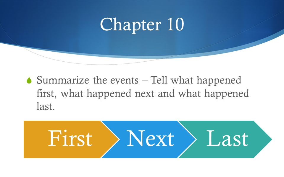 Chapter 10  Summarize the events – Tell what happened first, what happened next and what happened last.