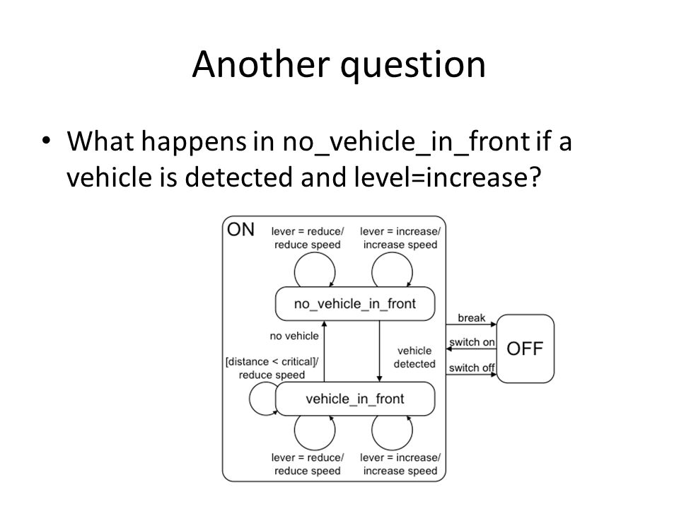 Another question What happens in no_vehicle_in_front if a vehicle is detected and level=increase