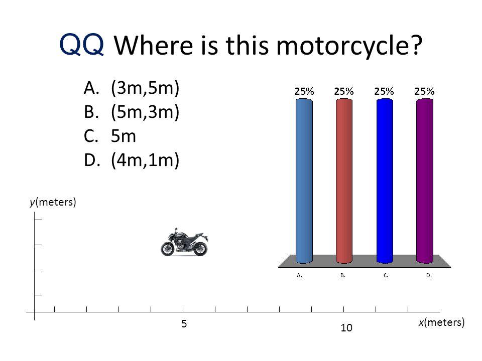 QQ Where is this motorcycle? A.(3m,5m) B.(5m,3m) C.5m D.(4m,1m) x(meters) y(meters) 5 10