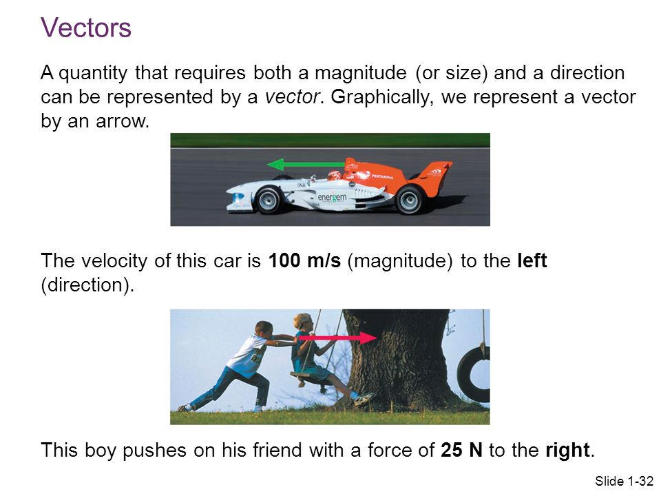 Vectors A quantity that requires both a magnitude (or size) and a direction can be represented by a vector. Graphically, we represent a vector by an a
