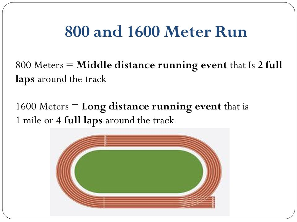 800 and 1600 Meter Run 800 Meters = Middle distance running event that Is 2 full laps around the track 1600 Meters = Long distance running event that