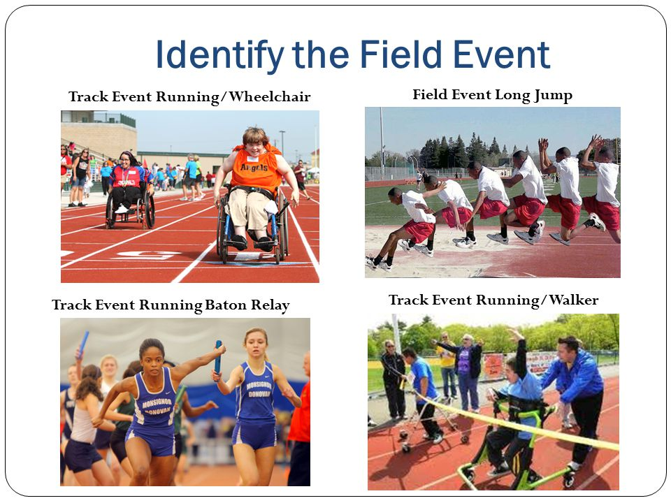 Identify the Field Event Track Event Running/Wheelchair Track Event Running Baton Relay Field Event Long Jump Track Event Running/Walker