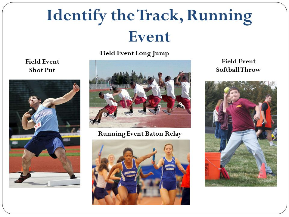 Identify the Track, Running Event Field Event Shot Put Field Event Long Jump Field Event Softball Throw Running Event Baton Relay