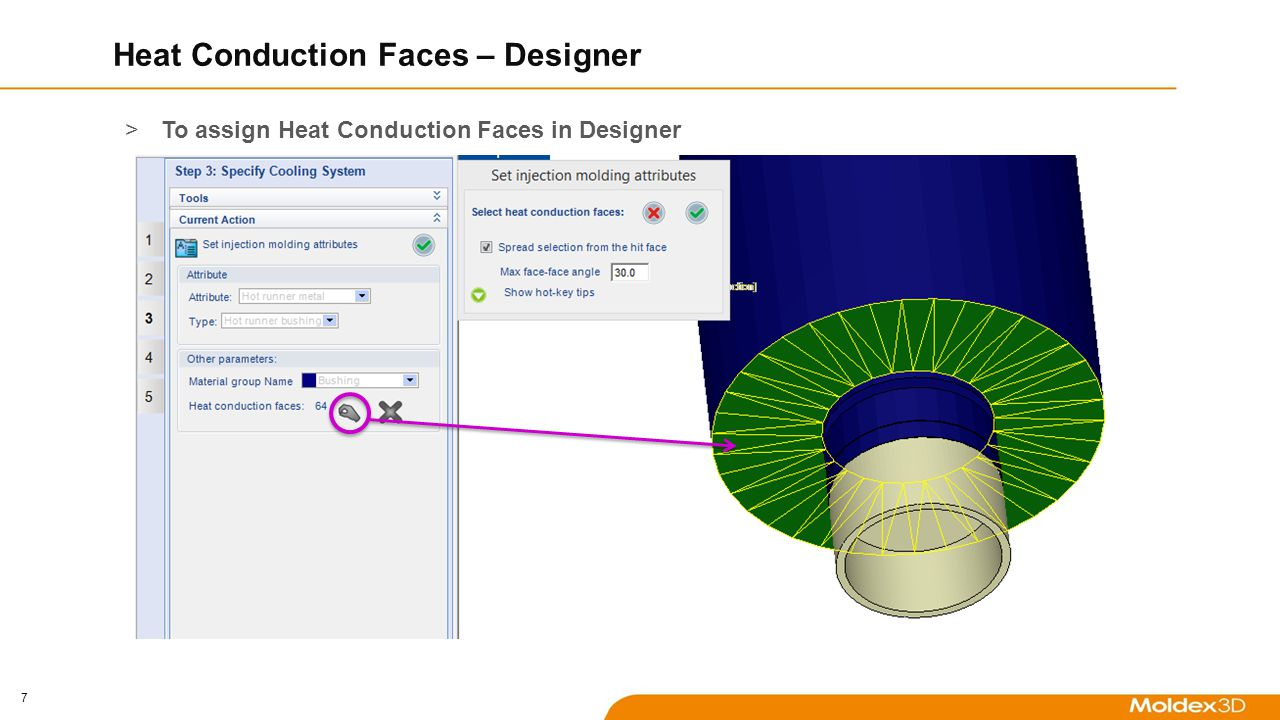 7 Heat Conduction Faces – Designer >To assign Heat Conduction Faces in Designer