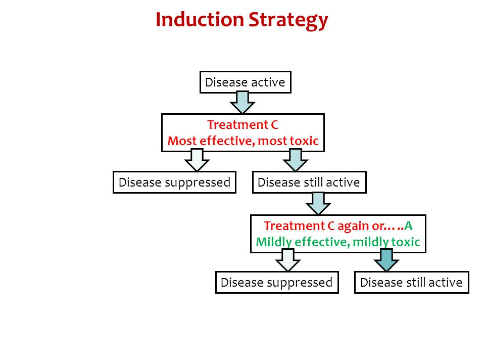Treatment C Most effective, most toxic Disease active Induction Strategy Disease suppressedDisease still active Treatment C again or…..A Mildly effect