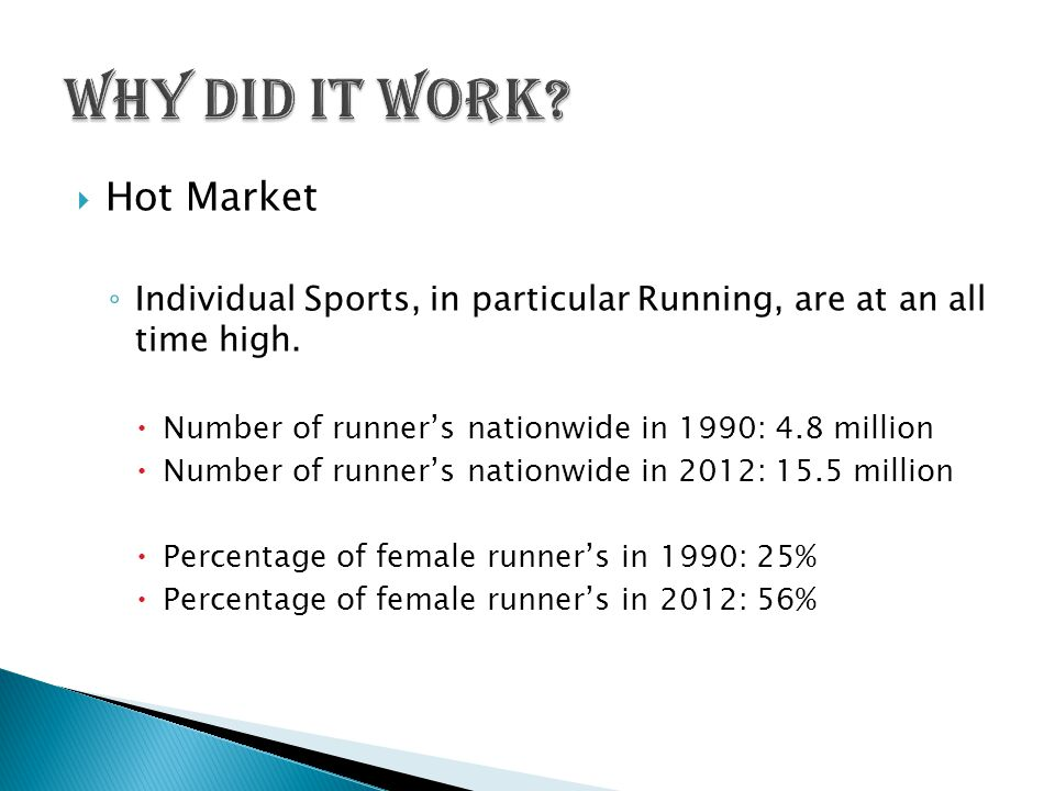  Hot Market ◦ Individual Sports, in particular Running, are at an all time high.
