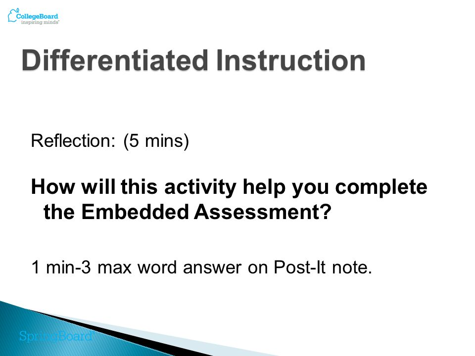 Reflection: (5 mins) How will this activity help you complete the Embedded Assessment.