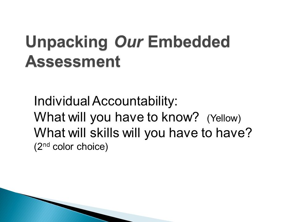 Group Accountability: Use your assigned format to unpack the Embedded Assessment.