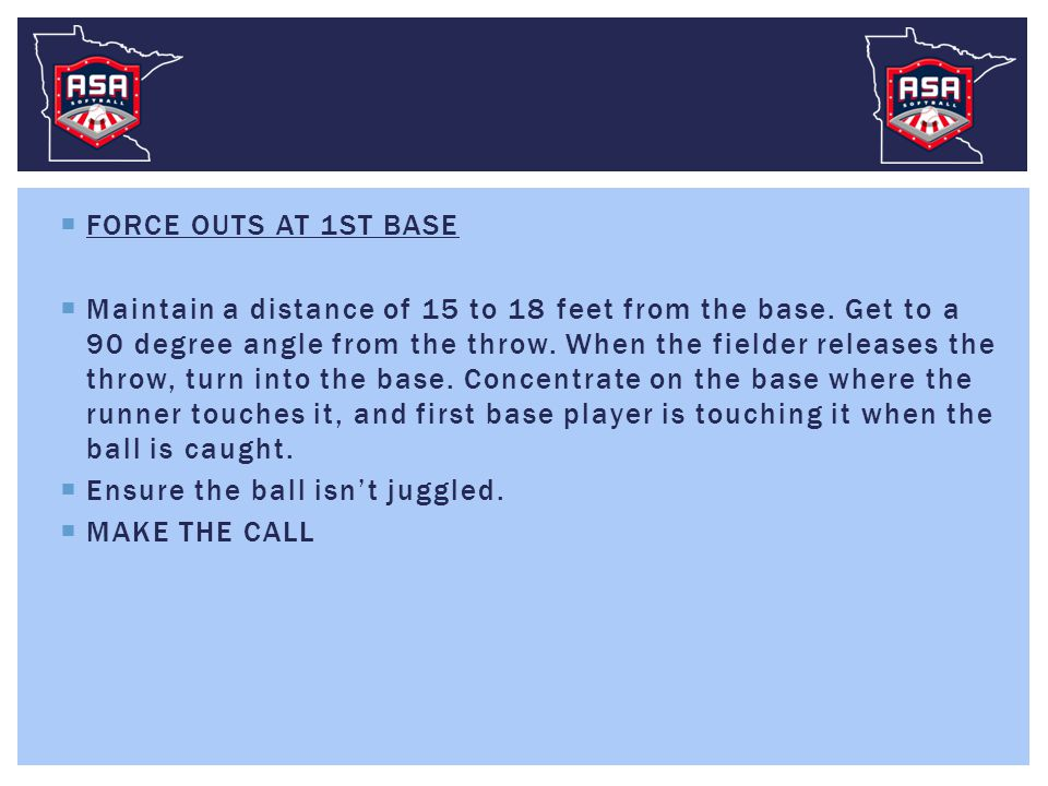  FORCE OUTS AT 1ST BASE  Maintain a distance of 15 to 18 feet from the base.