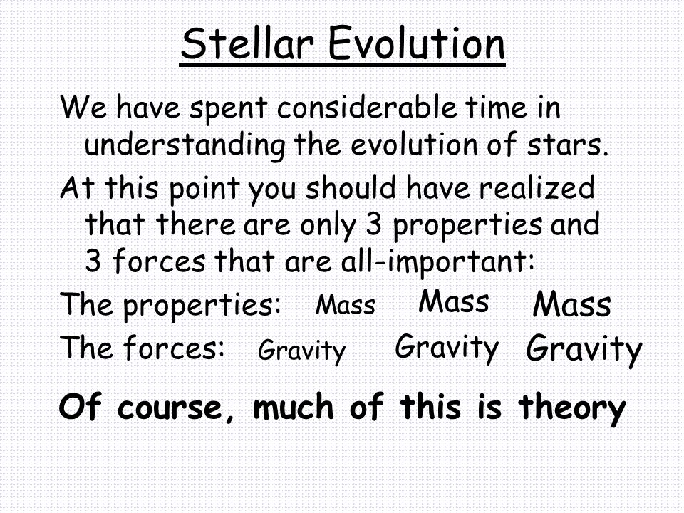 Stellar Evolution We have spent considerable time in understanding the evolution of stars.
