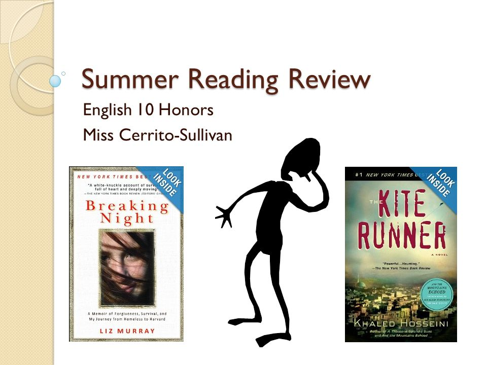 Summer Reading Review English 10 Honors Miss Cerrito-Sullivan