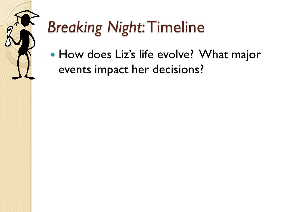 Breaking Night: Timeline How does Liz's life evolve? What major events impact her decisions?