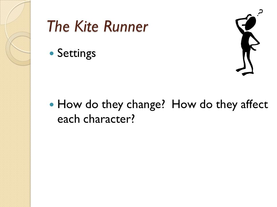 The Kite Runner Settings How do they change? How do they affect each character?