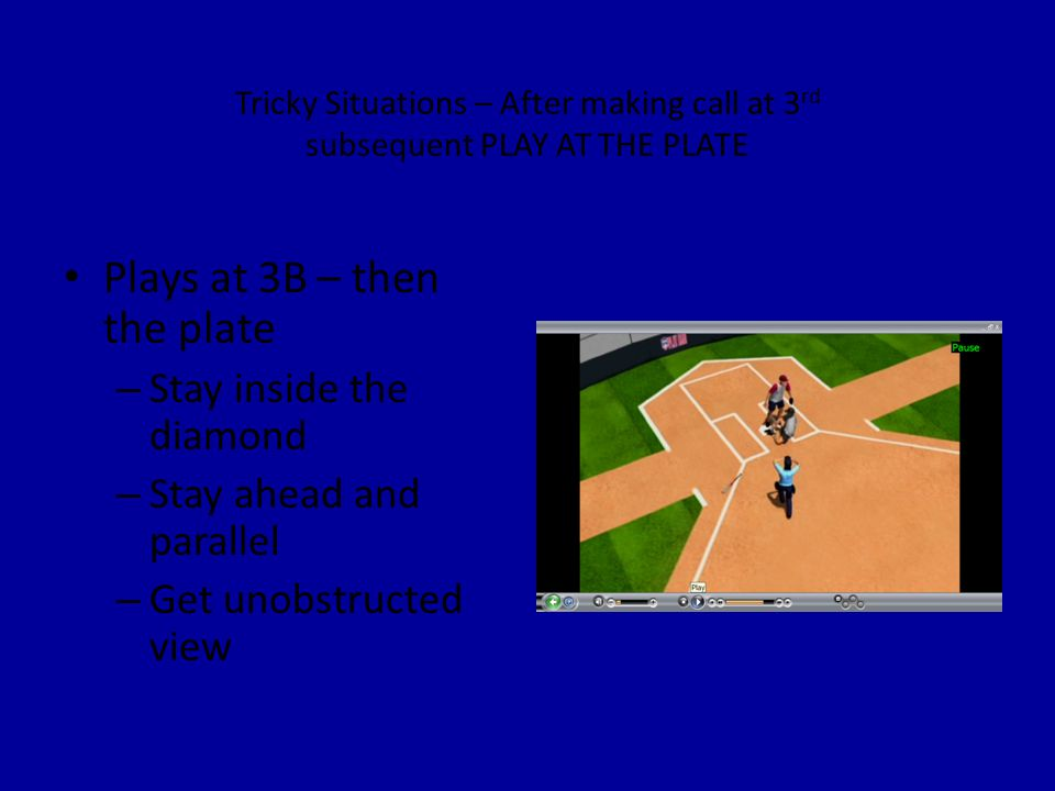 Tricky Situations – After making call at 3 rd subsequent PLAY AT THE PLATE Plays at 3B – then the plate – Stay inside the diamond – Stay ahead and parallel – Get unobstructed view
