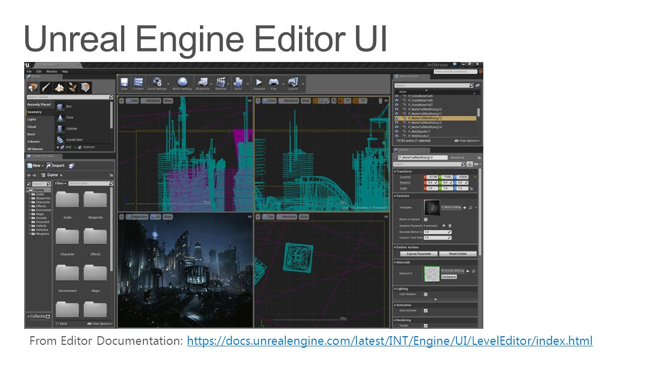 From Editor Documentation: https://docs.unrealengine.com/latest/INT/Engine/UI/LevelEditor/index.htmlhttps://docs.unrealengine.com/latest/INT/Engine/UI/LevelEditor/index.html