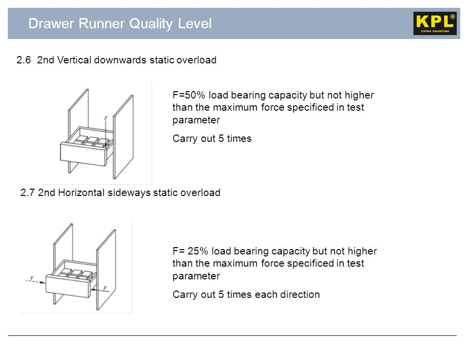 Drawer Runner Quality Level 2.6 2nd Vertical downwards static overload F= 25% load bearing capacity but not higher than the maximum force specificed in test parameter Carry out 5 times each direction 2.7 2nd Horizontal sideways static overload F=50% load bearing capacity but not higher than the maximum force specificed in test parameter Carry out 5 times
