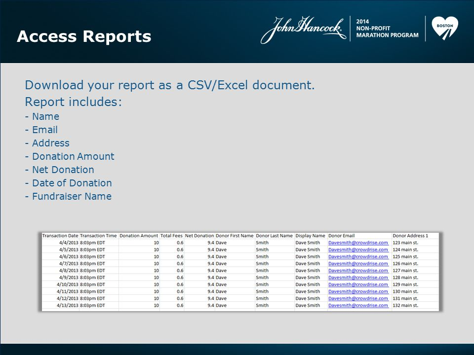 Access Reports Download your report as a CSV/Excel document.