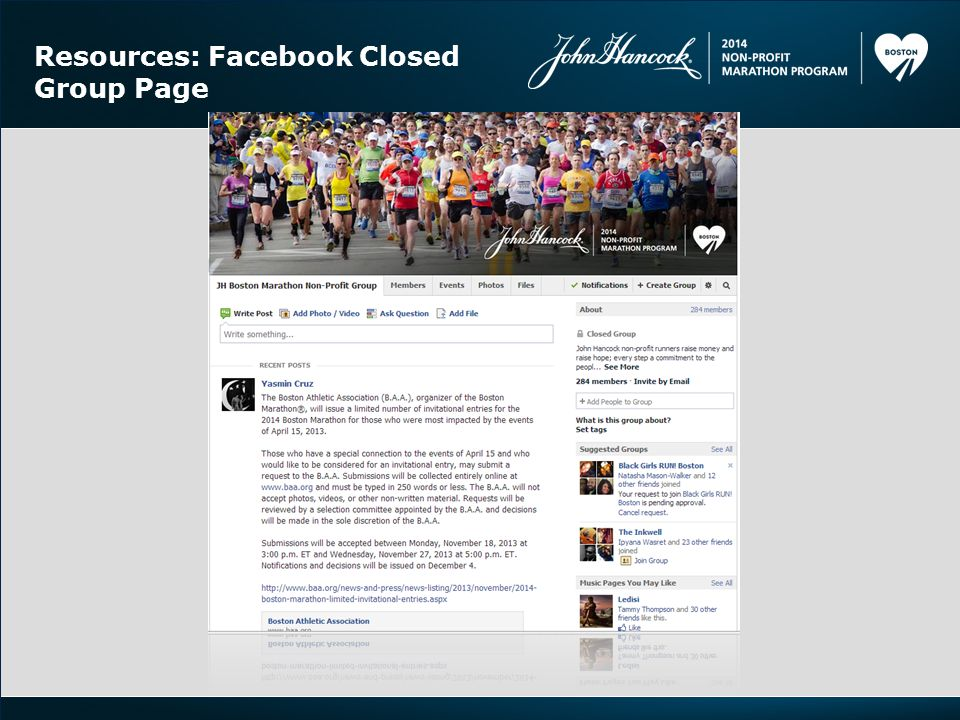 Resources: Facebook Closed Group Page