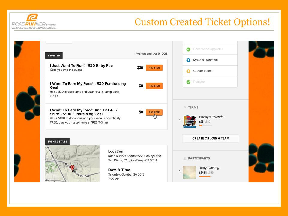 Road Runner Sports – CONFIDENTIAL, 2/3/2011 Custom Created Ticket Options!
