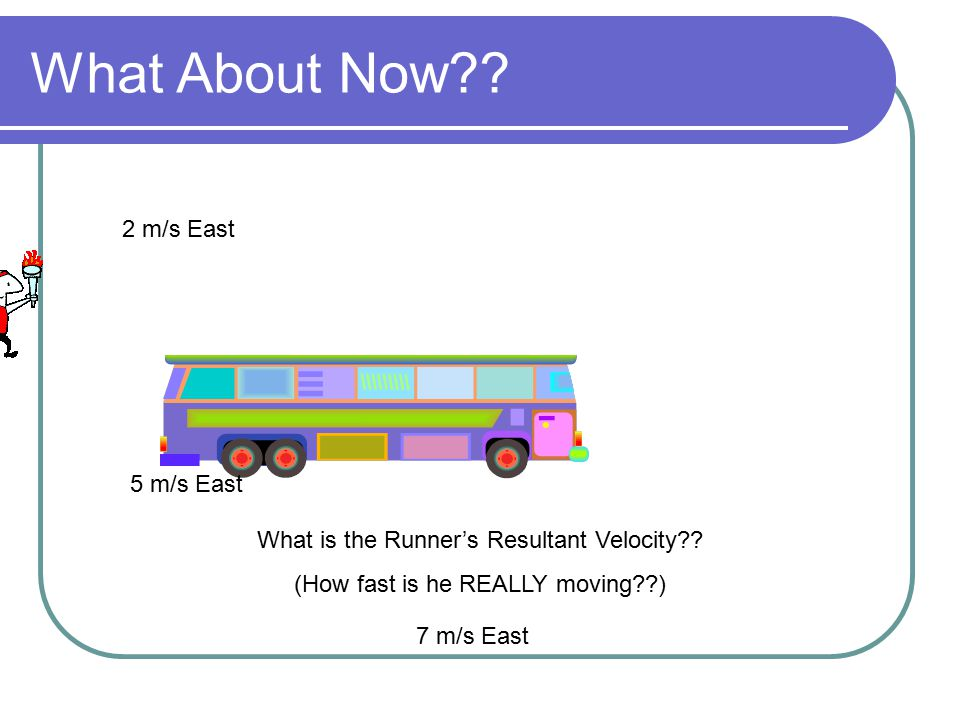 What About Now?? 5 m/s East What is the Runner's Resultant Velocity?? (How fast is he REALLY moving??) 2 m/s East 7 m/s East