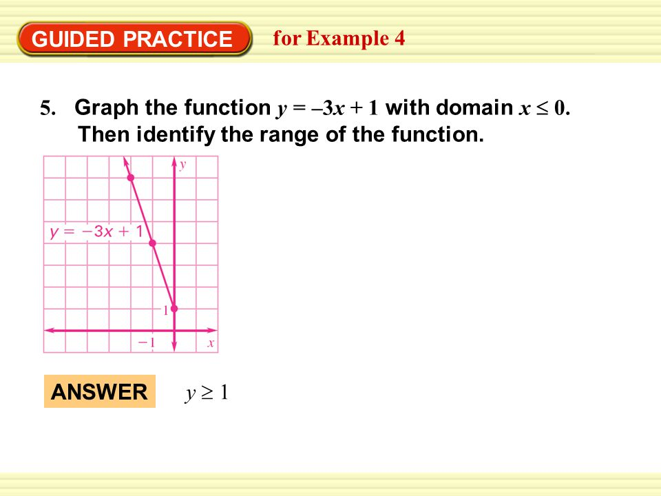 GUIDED PRACTICE for Example 4 5. Graph the function y = –3x + 1 with domain x  0.