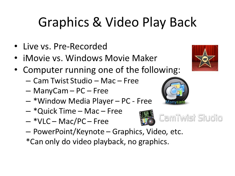 Graphics & Video Play Back Live vs. Pre-Recorded iMovie vs.