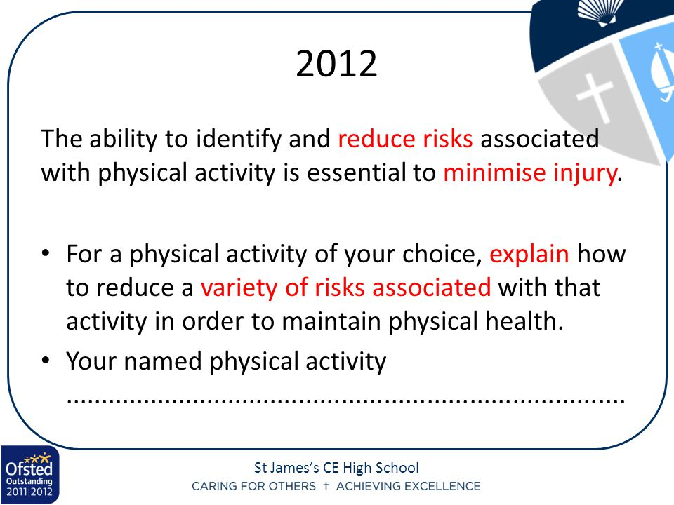 St James's CE High School 2012 The ability to identify and reduce risks associated with physical activity is essential to minimise injury.