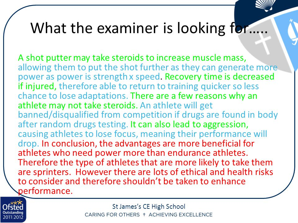 St James's CE High School What the examiner is looking for…..