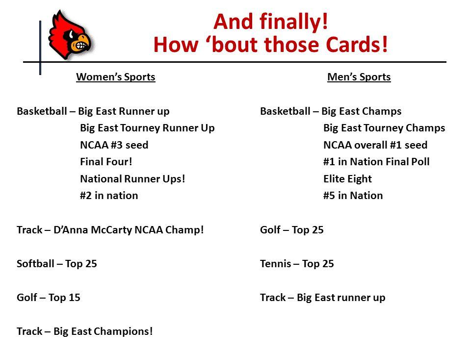 Women's Sports Basketball – Big East Runner up Big East Tourney Runner Up NCAA #3 seed Final Four! National Runner Ups! #2 in nation Track – D'Anna Mc