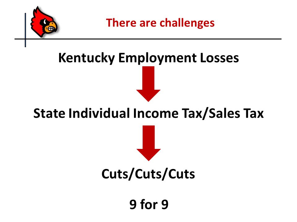 There are challenges Kentucky Employment Losses Cuts/Cuts/Cuts 9 for 9 State Individual Income Tax/Sales Tax