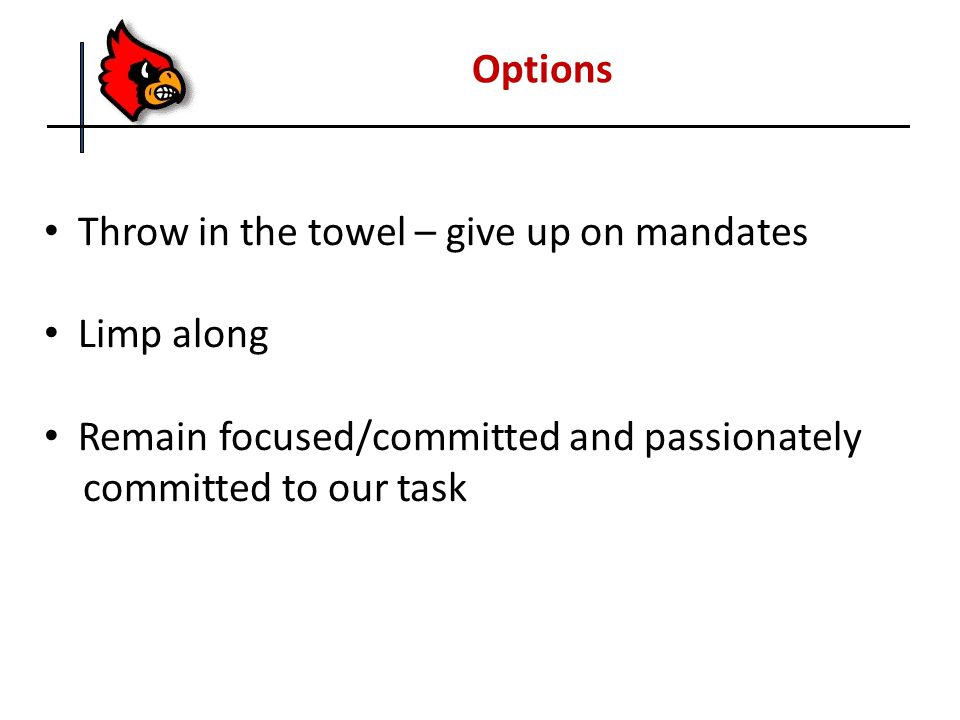 Options Throw in the towel – give up on mandates Limp along Remain focused/committed and passionately committed to our task