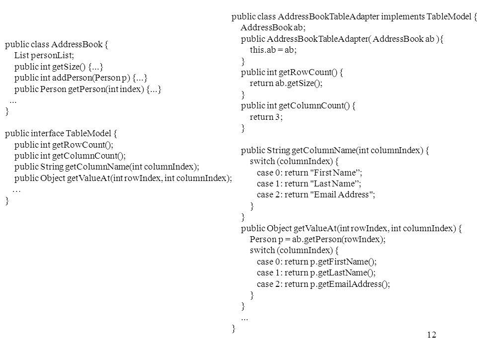12 public class AddressBook { List personList; public int getSize() {...} public int addPerson(Person p) {...} public Person getPerson(int index) {...